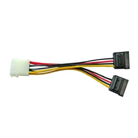 ATX 4-pin Molex Male Power to 2x Serial ATA-15pin Cable Adapter 15cm