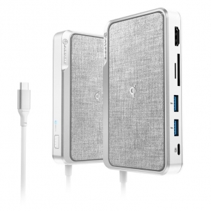 ALOGIC USB-C Dock Wave ¨C HDMI, 2 x USB-A, Micro/ SD Card Reader, USB-C with Power Delivery, Power Bank & Wireless Charger - Silver